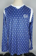 Icny Reflective Cycling Athletic Shirt Mens L Long Sleeve Blue White Cubic