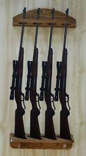 Gun Rack 4-gun vertical Wall Display solid oak wood