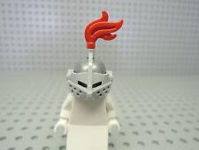 Lego 1 x Ritterhelm Visier Hutfeder rot 2446 2594 64647 perl hellgrau / hellgrau