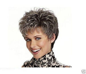 New Cosplay Short Light Black and Gray Women's Wig
