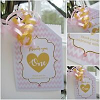 5 x Pink & Gold crystal PERSONALISED party bag tags favour tags thank you tags