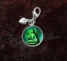 925 Sterling Silver Charm Green Buddha Meditation Nirvana