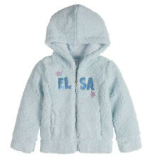 DISNEY FROZEN $36 ELSA Plush SHERPA Zip Up Hoodie Jacket Flip Sequins Girls 3T