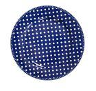 Krasilnikoff Diner Plate Dots Dark Blue Porcelain Plate 25 CM White Blue