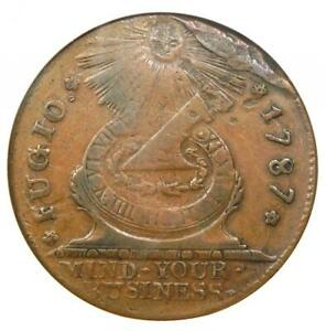 1787 Fugio Cent 1C Colonial Copper Coin - Certified ANACS VF Details - Rare!