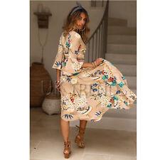 UK Womens Floral Kimono V Plunge Ladies Maxi Wrap Holiday Summer Dress Size 6-14
