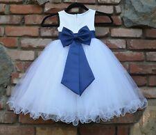 Satin White Tulle Flower Girl Dress Wedding Pageant Communion Reception Baptism