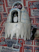 NEW VTG 1997 BUDWEISER BUD ICE BEER PENGUIN MOTION IGLOO COO-COO CLOCK BAR SIGN