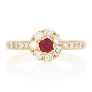 83ctw Round Cut Ruby & Diamond Ring - 18k Yellow Gold Floral Halo