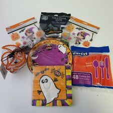 Halloween Party Bundle for 16 People Silverware Plate Napkin Tablecloth Stickers