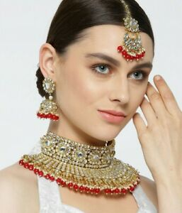 Bollywood Kundan Choker Necklace Set Gold Bridal Indian Pearl Polki Jewelry Set