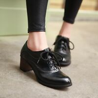 Fashion New Womens Lace Up Wing Tip Pumps Oxfords Brogue Brogue Casual Shoes