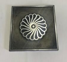 Cast Aluminium Metal fireplace hearth tile - Spiral design - 6in x 6in