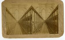Early View Brooklyn Bridge New York City Oversized Stereoview Photo Card