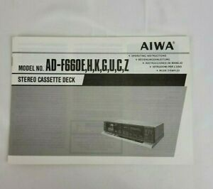 Aiwa AD-F660 E,H,K,G,U,C,Z Instruction Booklet Manual Only