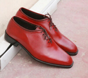 Mens Handmade Burgundy Leather Whole Cut Lace Up Formal Dress Men Leather Shoes