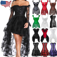 Women Gothic Sexy Waist Training Corset Top Overbust Bustier Basque Fancy Dress