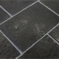 Sample of Tumbled Cathedral Black Limestone Floor Tiles Slabs Aged Flagstones