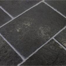 Sample of Tumbled Cathedral Black Limestone Floor Tiles Slabs Aged Flagstones