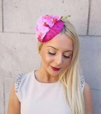 Velours rose clair chaud fleur d'orchidée bibi Hat courses Ascot bandeau 2494