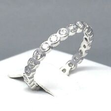 """DELICATE STERLING SILVER CUBIC ZIRCON *FULL ETERNITY* LADIES RING SIZE """"O"""" 1897A"""