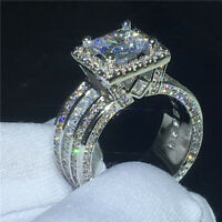 Real 14k White Gold Engagement Wedding Ring 3.00ct D/VVS1 Princess Cut Diamond