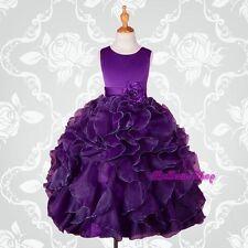 Dark Purple Satin Organza Dress Wedding Flower Girl Pageant Party Size 5 FG234