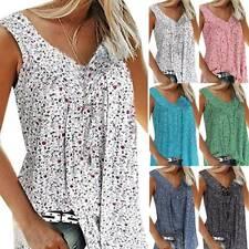 Plus Size Women Floral Tunic Blouse Loose Sleeveless Tank Vest Boho Top Shirts