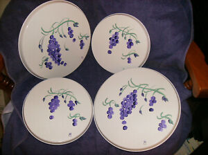"NEW SET OF 4 PURPLE GRAPES BURNER COVERS 2) 10"" &  2)  8"" HANDPAINTED MADE N USA"