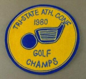 """Vintage Tri-State Athletic Conference Patch Golf Champs 1980 Round 6.5"""" Felt"""