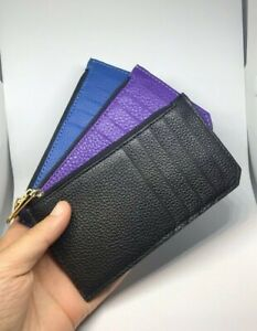 Real Leather Credit Card Holder Purse with Zip Closure Long Wallet 6 Colours New