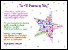 Thank You Teacher Star Nursery Gift Personalised Childminder Assistant A4 TA