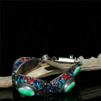 "8.27"" Exquisite Chinese White copper Cloisonne inlay Jade Handmade Bracelet"
