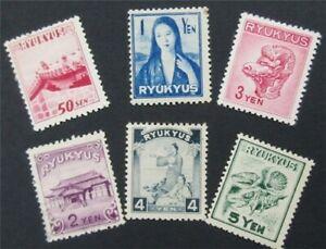 nystamps Japan Ryukyu Islands Stamp # 8-13 Mint OG NH       S17x638