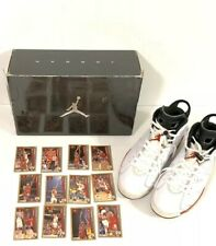 Jordan 6 White Varsity Red Size 11 2010 Authentic w/ chicago bulls playing cards