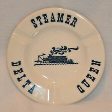 Vintage Royal China Inc Delta Queen Steamer Ashtray USA Made White Navy Blue