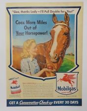 Original Print Ad 1943 MOBILGAS MOBILOlL Coax More Miles Out of Horsepower