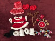 Lot BUILD A BEAR Christmas Holiday Clothes Red Dresses Skates Boots Shoes