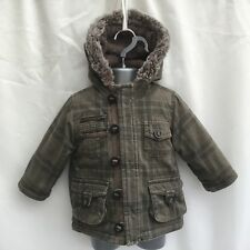 BOYS KHAKI CHECKED HOODED FLEECE LINED PARKA COAT JACKET - AGE 9-12 MONTHS
