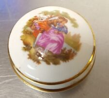 "2-pc Limoges Man Woman Courting Porcelaine D'art 2"" Pin or Trinket Box with Lid"