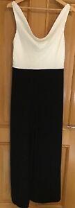 Ted Baker Kieva Cowl Neck a Wide Leg Jumpsuit Sizes 3 4 Black & White BNWT