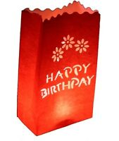20 Red Happy Birthday Candle Paper Bag Flame Proof Safe Lantern Outdoor Garden