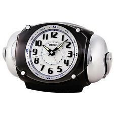 Seiko CRAZY Super LOUD Bell Alarm Clock BLACK QHK043K +Free Ship~100% AUTHENTIC