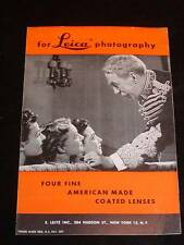 "Vintage Leica Camera Advertising Pamphlet ""Four Fine American Made Lenses"" c1948"