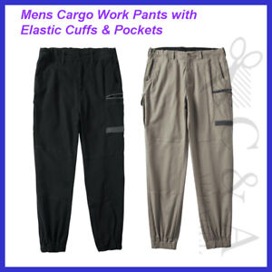 Bocini Mens Modern Fit Cargo Work Pants W/ Elastic Cuffs & Utility Pockets New