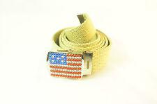 """Le """"rêve américain"""" cloutées strass ceinture toile beige ceinture patriotique (uw2)"""