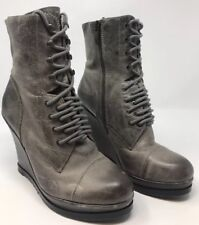 0547f467c8e7 NEW Vince Camuto Suni Distressed Gray Leather Lace-Up Wedge Boots US 6