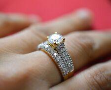 Round Diamond Bridal Ring Set 14K Yellow Gold FN Engagement Wedding Band 1.87 Ct