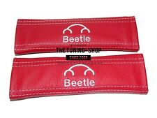 """2x SEAT BELT COVERS ARMREST PADS RED LEATHER """"BEETLE"""" EMBROIDERY FOR NEW BEETLE"""