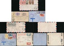 FRENCH AFRICA 1940-45 WW2 CENSORED AIRMAIL MULTI FRANKINGS...6 ITEMS